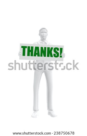 Businessman holding a Thank you message - stock photo