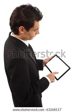 Businessman holding a touchpad pc, one finger touches the screen, isolated on white - stock photo
