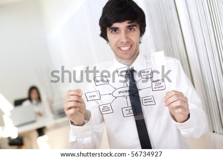 Businessman holding a website schema solution (selective focus with shallow DOF). - stock photo