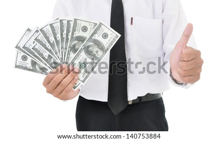 Businessman holding american dollars and showing thumb up, isolated on white background - stock photo