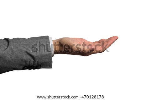businessman holding an empty hand isolated on white