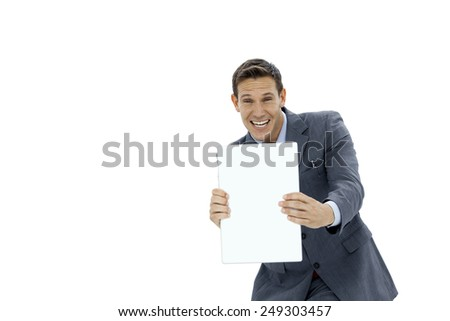 Businessman holding and showing whiteboard - isolated