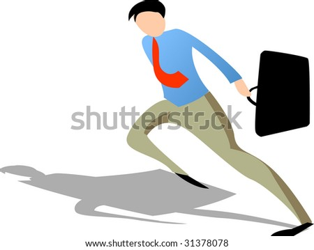 Businessman holding black suitcase in hurry