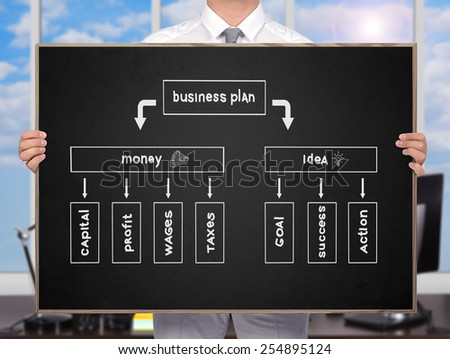 businessman holding blackboard with drawing  business plan - stock photo