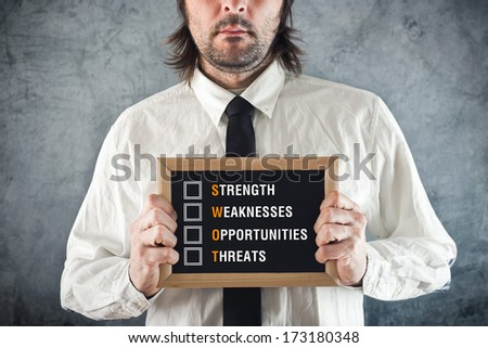 Businessman holding blackboard with SWOT ANALYSIS title. Business analysing concept.