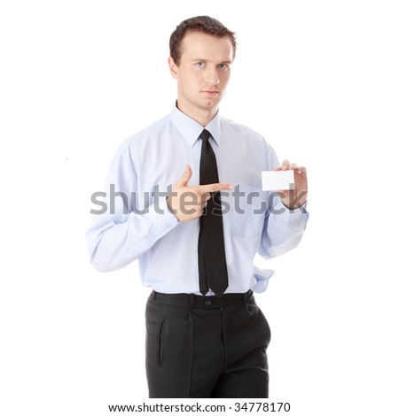 Businessman holding blank card isolated