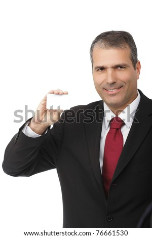 businessman holding blank card isolated on white background - focus on the hand