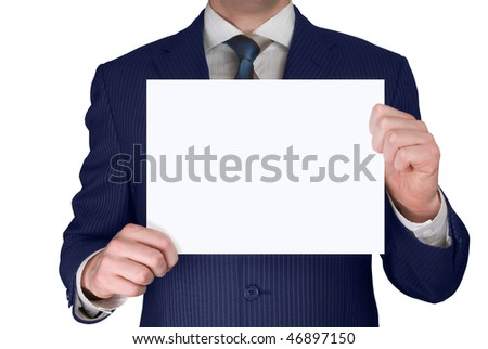 businessman holding blank card isolated over white background - stock photo