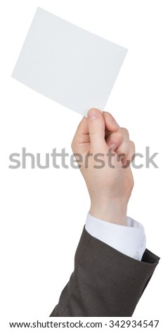 Businessman holding blank card on isolated white background
