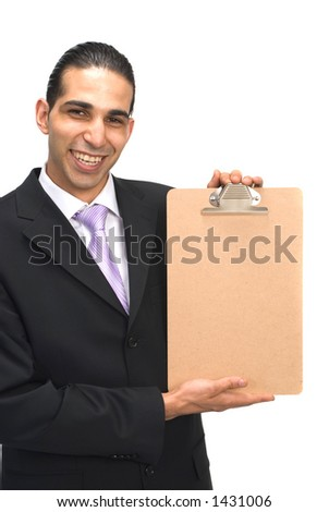 businessman holding blank clipboard