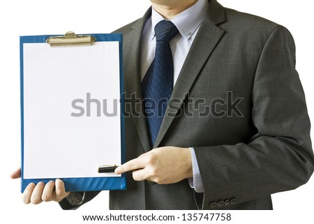 Businessman holding blank document with empty space for design and pen to sign it isolated on white background - stock photo