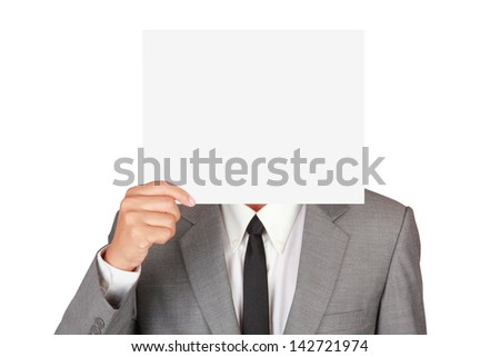 Businessman holding blank paper isolated on white background with clipping path