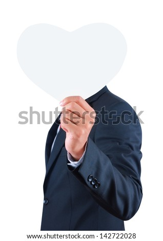 Businessman holding blank paper isolated on white background with clipping path - stock photo
