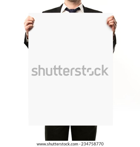 businessman holding blank placard in hand - stock photo