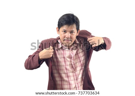 Businessman holding both hands on his suit isolate on white background