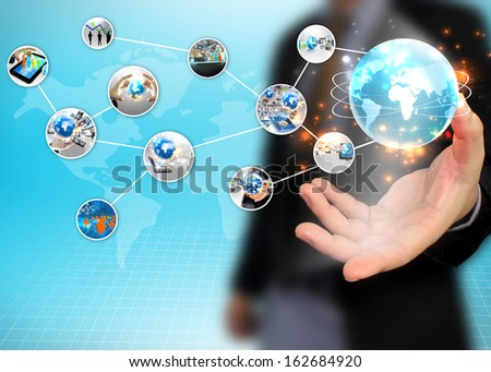 businessman holding business diagram