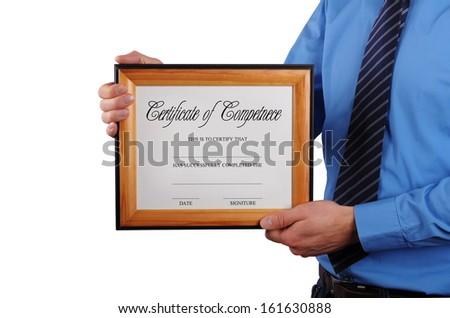 businessman holding certificate in a wood picture frame - stock photo