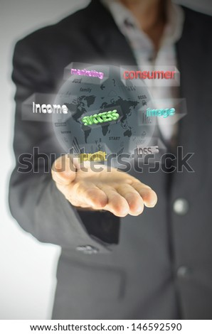 businessman holding digital concept ball of business