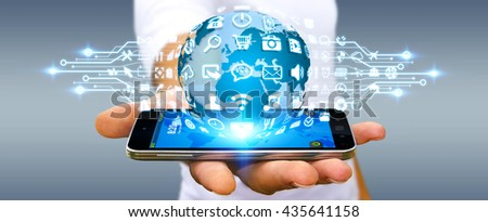 Businessman holding digital web earth with modern icons '3D rendering' - stock photo
