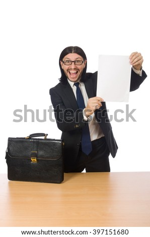Businessman holding document isolated on white