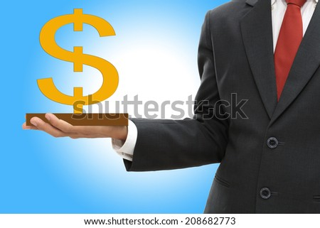 Businessman holding dollar sign money concept