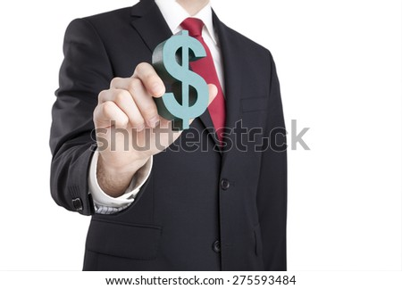 Businessman holding dollar sign with clipping path - stock photo