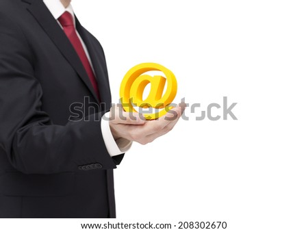 Businessman holding email symbol with clipping path - stock photo