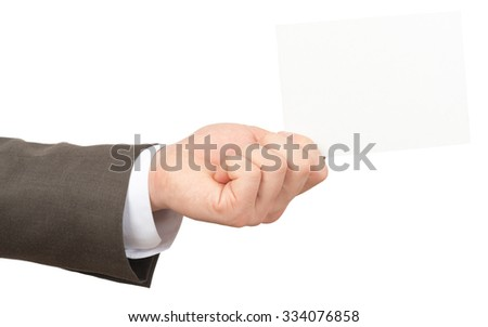 Businessman holding empty card on isolated white background