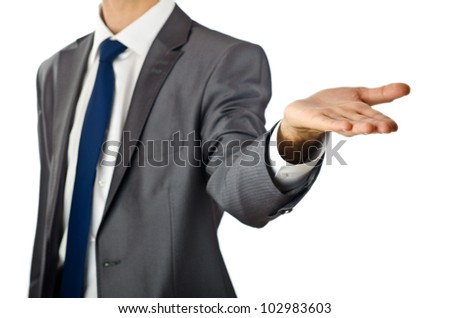 Businessman holding empty hands
