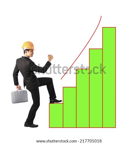 businessman holding files climbing on bar graph to success - stock photo