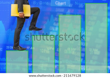 businessman holding files climbing on line graph to success money concept background - stock photo