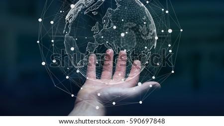 Businessman holding global network and data exchanges over the world 3D rendering