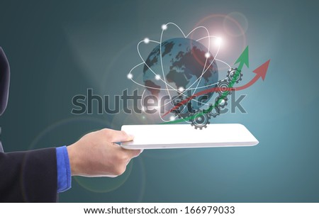 Businessman holding global network with your hand