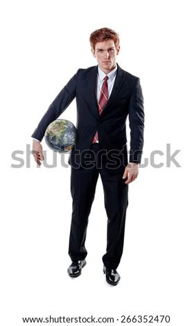 Businessman, holding globe. - stock photo