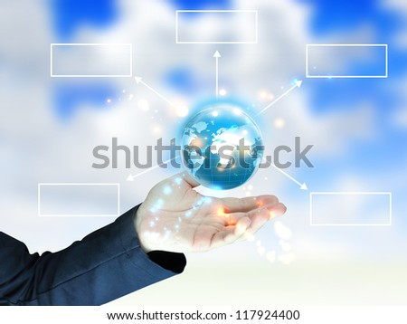 businessman holding globe diagram - stock photo
