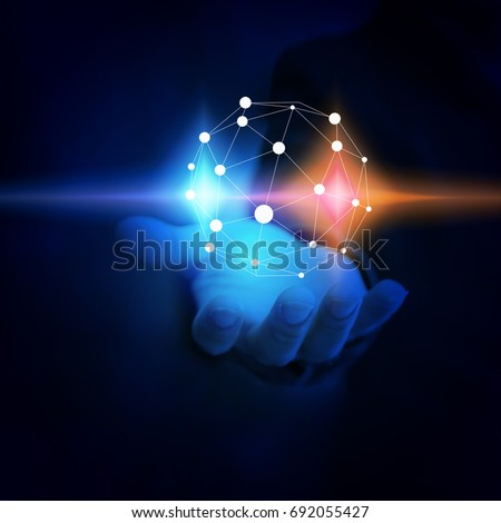 Businessman holding glowing globe. world connected, social network concept