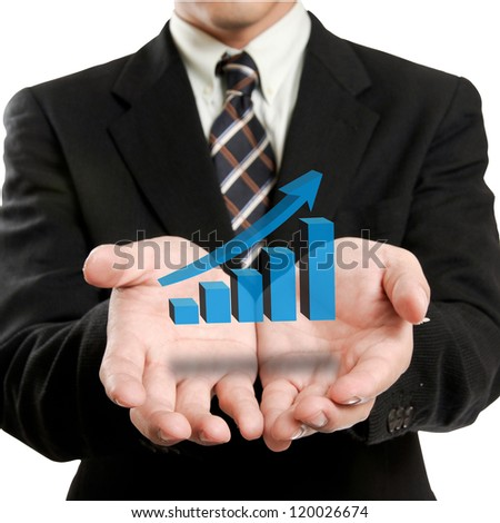 Businessman holding glowing graph - stock photo