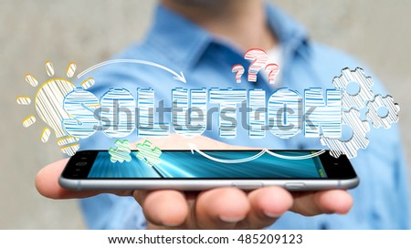 Businessman holding hand-drawn business presentation over his mobile phone