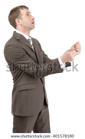 Businessman holding hands in front of him