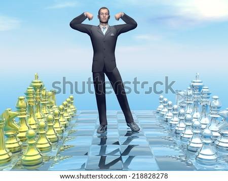 Businessman holding hands up as a winner on chessboard - 3D render - stock photo