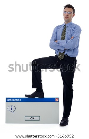 Businessman holding his foot on a big information dialog