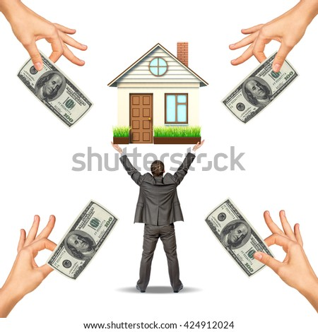 Businessman holding house and hands offering money, isolated. Loan concept - stock photo