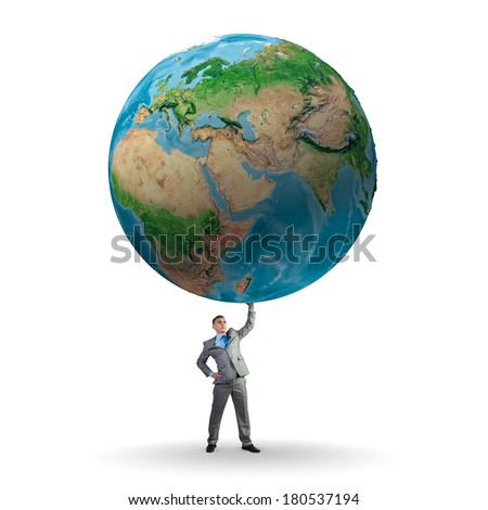 Businessman holding huge Earth planet above head. Elements of this image are furnished by NASA - stock photo