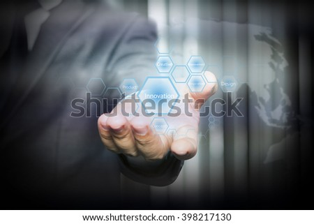 Businessman holding  icon with Innovation words on the screen. business concept.
