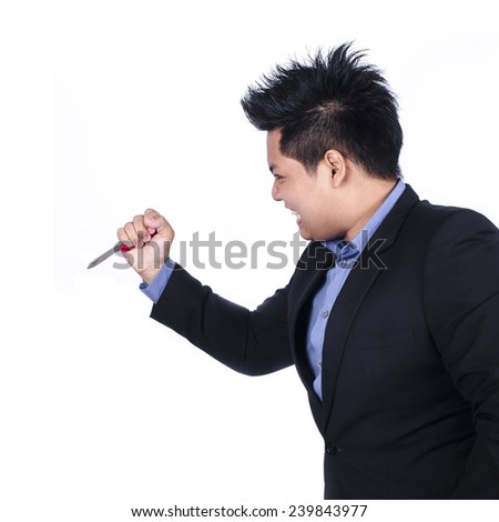 Businessman holding Knife Over White Background.