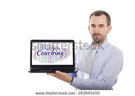 Businessman holding Laptop with Coaching concept - with isolated background - stock photo