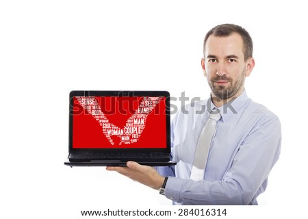 Businessman holding Laptop with Dating  concept - with isolated background - stock photo