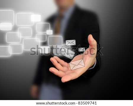 Businessman holding message