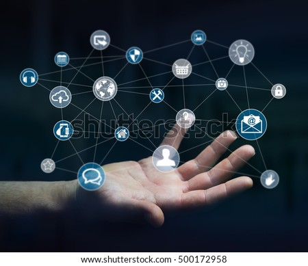 Businessman holding multimedia network with his hand 3D rendering