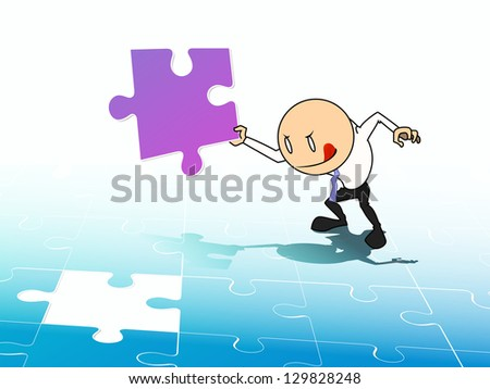 businessman holding piece of the last jigsaw on puzzle - stock photo